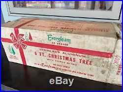 Vintage Evergleam Pom Pom Aluminum Silver Christmas Tree 6 Foot with 94 Branches
