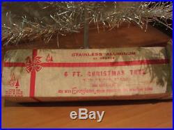 Vintage Evergleam Silver Stainless Aluminum Christmas Tree 6' F 46 Branch PomPom