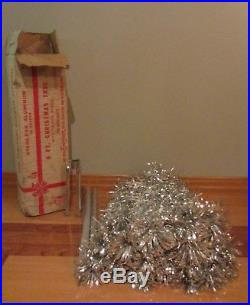 Vintage Evergleam Silver Stainless Aluminum Christmas Tree 6' F 46 Branch PomPom