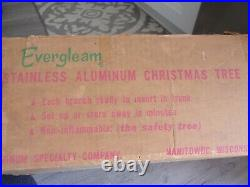 Vintage Evergleam Stainless Aluminum Christmas Tree 55 Branches Pole No Stand