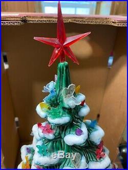 Vintage Ex-Lrg Green Ceramic Christmas Tree Lamp Light Multi Colored 23 1970`s