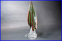 Vintage Exquisite Murano Art Glass Green/red/gold Swirled Christmas Tree 12
