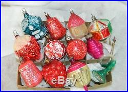 Vintage FEATHER TREE Glass Christmas Ornaments SHAPES