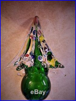 Vintage-FLAWLESS Stunning MURANO Italy Art Glass CHRISTMAS TREE Multi-Colored