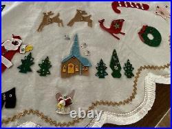 Vintage Felt Christmas Tree Skirt Handmade Santa Reindeer Mid Century Kitsch