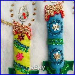 Vintage Felt Fabric Christmas Tree Skirt Sequins Beads Gold Braid Handmade 38