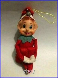 Vintage Felt Pixie Elf Elves Knee Hugger Christmas Tree Ornament LOT of 4