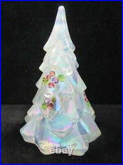 Vintage Fenton French Opal Hand Painted Christmas Tree 7.5 Inches
