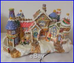 Vintage Fiber Optic Christmas Village Gingerbread House Cookie Candy Tree Motion
