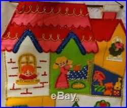 Vintage Finished Bucilla Felt Christmas Tree Sweet Home Mom Kids Wall Hanging