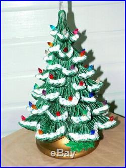 Vintage Flocked Ceramic Christmas Tree Light Up Silent Night Music Box Nowells