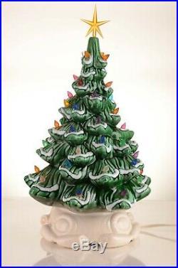 Vintage Flocked Ceramic Christmas Tree With White Lighted Base