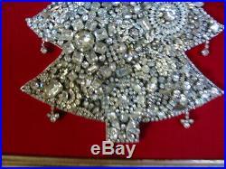 Vintage Framed Jeweled Rhinestone Christmas Tree Art