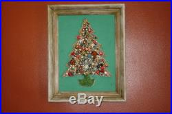 Vintage Framed Rhinestone Jewelry Art Christmas Tree Picture 1981 One of a Kind