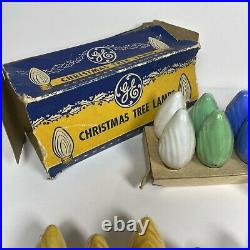Vintage GE Swirl C9 Christmas Tree Light Bulbs Lot of 35 ALL TESTED Red Wht Blu