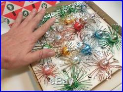 Vintage GLASS Christmas Tree STARBURST FLOWER POM POMS Ornaments in Box ATOMIC