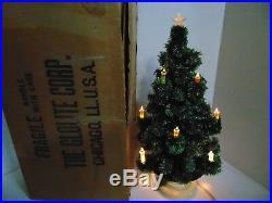 Vintage GLOLITE CORP Table Top Visca Christmas Tree with Light Bulb Base & Box