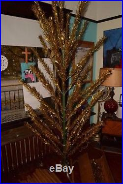 Vintage GOLD Colored ALUMINUM 48 Branch CHRISTMAS TREE withCast Iron STAND