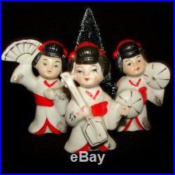 Vintage Geisha Girl Japan Christmas or Valentine Figurines w Bottle Brush Tree