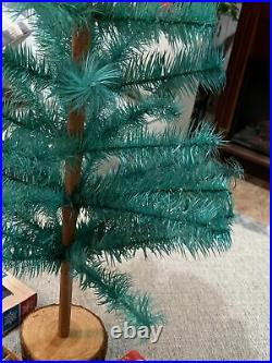 Vintage Genuine Goose Feather Green Christmas Tree 24 & Vintage Small Ornaments