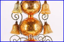 Vintage German Christmas Tree Topper Mercury Blown Metal Wrapped Bell Glass Wire