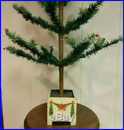 Vintage German Goose Feather Christmas Tree 53 2 Toned Green Branches Berries