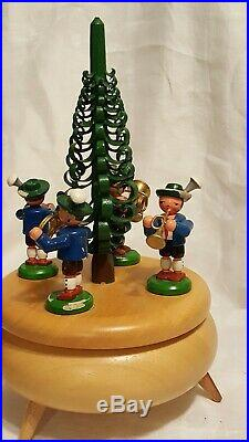 Vintage German Reuge Wood Marching Band Around the Christmas Tree Music Box