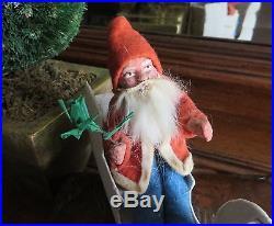Vintage German Santa Claus In Sleigh with Christmas Tree