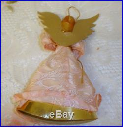 Vintage German Wax Angel Christmas Tree Topper Pink Silk with Gold Accents