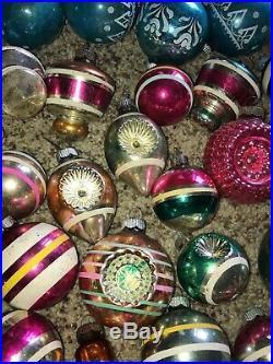 Vintage Glass Christmas Tree Ornaments Lot of 76 Bulbs Stripe