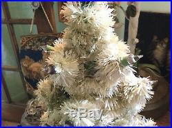 Vintage Glolite Visca 15.5 Light Up Table Top Plaster Base Christmas Tree Works
