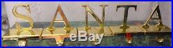 Vintage Gold Brass Letters SANTA Mantel Hook Stocking Holder Hanger 5 pc Set