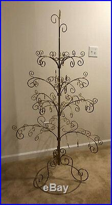 Vintage Gold Metal Scroll Christmas Ornament Display Trees 67 Inches Tall