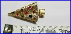 Vintage Gold Rare CoroCraft Christmas Tree Light Up Pin with Original Box