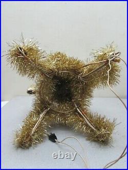 Vintage Gold Sparkling Tinsel Christmas Tree Topper Lighted Candelabra MCM