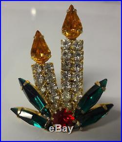 Vintage Gold Tone Rhinestone Candle Holly Christmas Tree Pin Brooch RARE