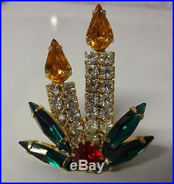 Vintage Gold Tone Rhinestone Candle Holly Christmas Tree Pin Brooch RARE