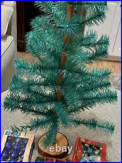 Vintage Goose Feather Green Christmas Tree 24 With Vintage Small Ornaments
