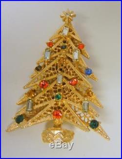 Vintage Gorgeous Designer Signed Art Rhinestones Christmas Tree Pin Brooch