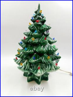 Vintage Green 15 1/2 Ceramic Lighted Christmas Tree NICE