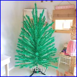 Vintage Green Blue Holi-Gay Aluminum Christmas Tree 165 Branches 7ft Midcentury