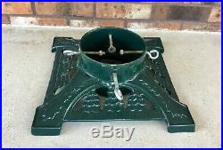 Vintage Green Cast Iron Christmas Tree Stand Square