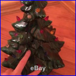 Vintage Green Ceramic 17 Without Star Christmas Tree Lighted Light Birds Lamp