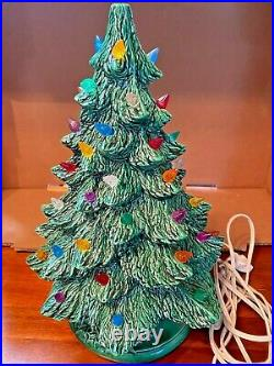 Vintage Green Ceramic Christmas Tree Multi Colored 131970`s withLighted Base #115