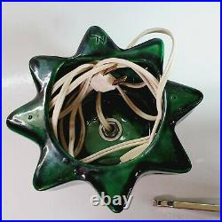 Vintage Green Ceramic Christmas Tree Working STAR BASE 13.5 With 7 Extra Bulbs