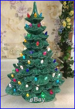 vintage green ceramic christmas tree with dove lights and base 17 - Vintage Ceramic Christmas Tree