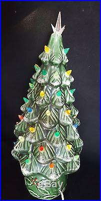 Vintage Green Ceramic Christmas Tree with Holly Base Lighted 19 Tall USA Seller