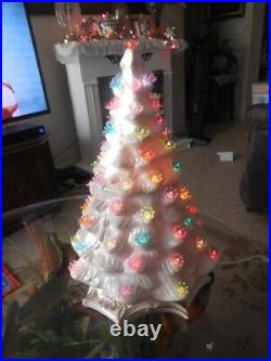 Vintage Handcrafted Ceramic Christmas Tree Lighted Christmas Artificial Trees