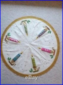 Vintage Handmade Christmas Tree Skirt Felt & Sequin Candles Fringe 44 50s 60s