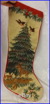 Vintage Handmade Needlepoint Christmas Tree Bunny Birds Reindeer Jumbo Stocking